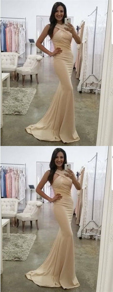 Mermaid V-Neck Sweep Train Beige Elastic Satin Prom Dress with Lace, D0969