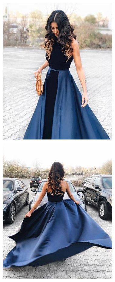 Navy Blue Long Velvet Evening Dresses Open Back Prom Gowns , D0972