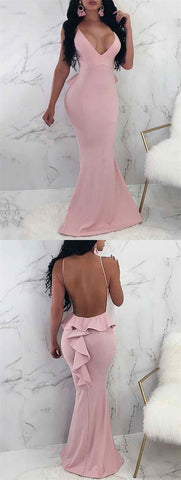 Mermaid V-Neck Floor-Length Backless Pink Prom Dress with Ruffles , D0974