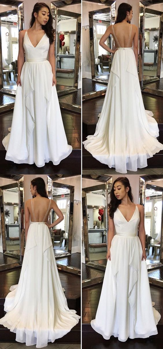 A-Line V-neck Backless Sweep Train White Chiffon Prom Dress with Ruffles, D0976