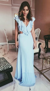 Charming Sheath V Neck Backless Ruffled Light Blue Long Prom Dresses, Elegant Evening Dresses, D0978