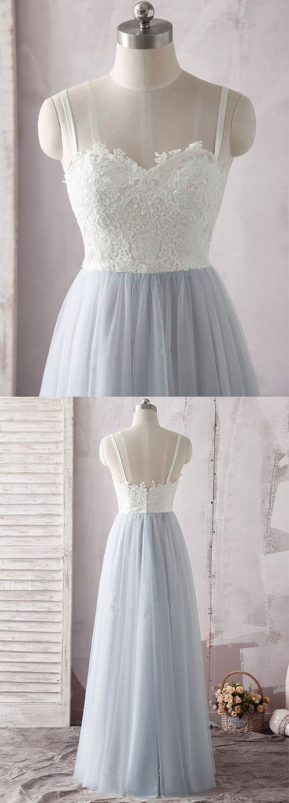 Simple Spaghetti Straps Sweetheart Ivory Lace Blue Tulle Prom Dress, D0984