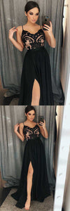 A-Line Spaghetti Straps Black Satin Prom Dress with Lace Split, D0987