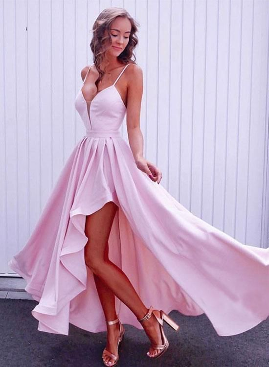 Simple pink v neck long prom dress, pink evening dress, D0992
