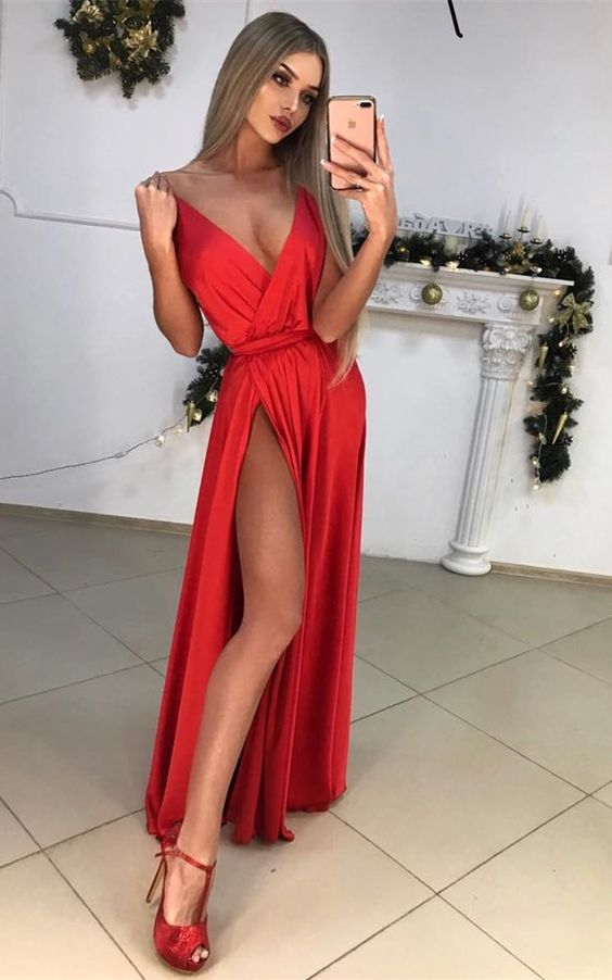 sexy red prom dress with split, fashion deep v-neck party dress with ruched, elegant spaghetti strap evening dress, D0993