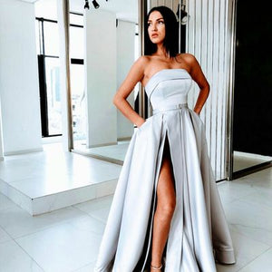 Sexy Slit A Line Prom Dresses Satin Evening Dress Silver Long Prom Dress Formal Gowns , D0994
