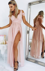 pink chiffon long prom dress with slit, 2018 prom dress, formal evening dress, cheap prom dress, D0995