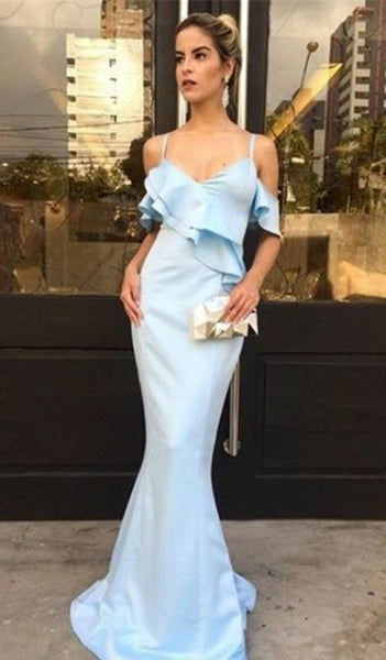 Mermaid Spaghetti Straps Short Sleeves Floor-Length Blue Prom Dress, D0996