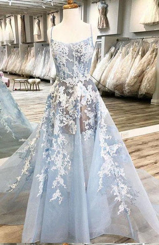 Spaghetti Straps Prom Dresses,A Line Prom Gown,Unique Prom Dresses,Light Blue Evening Dress DP002