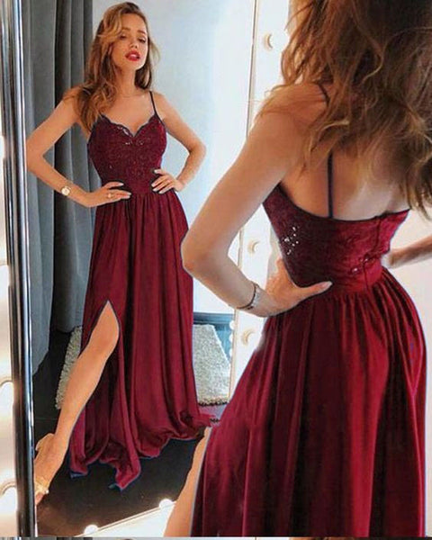 strap prom dress, fashion burgundy party dress, sexy evening dress with split, long prom dresses DP003