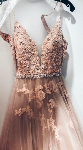 Sweetheart Spaghetti Straps Lace Appliques Prom Dress, Formal Evening Dress DP004