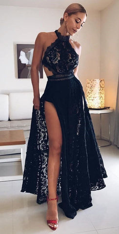 A-Line Halter Prom Dresses,Floor Length Prom Dress,Black Prom Dresses,Lace Prom Dress with Split DP005