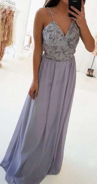 A-Line Spaghetti Straps Floor-Length Prom Dress with Lace Top DP007