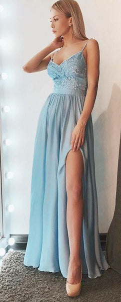 Simple A-Line Spaghetti Straps Blue Chiffon Long Prom Dress with Slit DP008