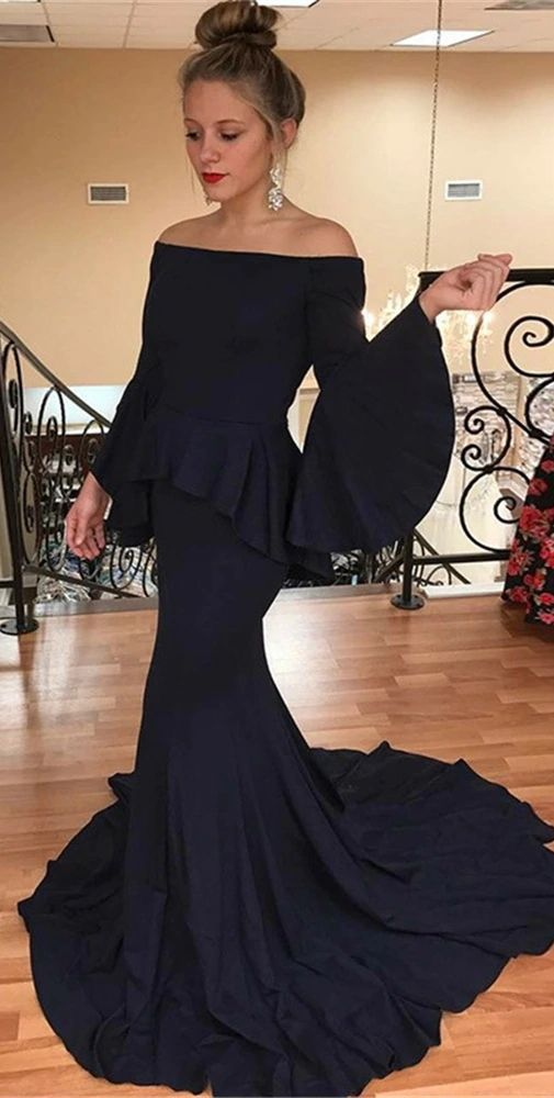 Mermaid Prom Dresses,Off-the-Shoulder Prom Dress,Flare Sleeves Prom Dresses,Navy Blue Prom Dress DP010