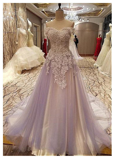 Tulle Prom Dresses,Beaded Appliques Prom Dresses,Long Evening Dress,Off the Shoulder Prom Dresses DP012