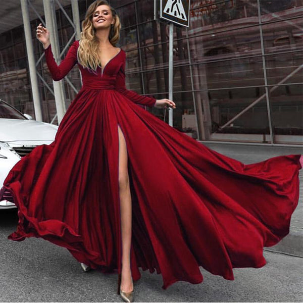 Silk Chiffon Long Sleeved Burgundy Prom Dresses V neck Formal Dress DP017