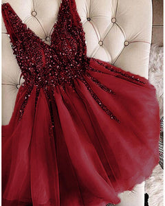 Burgundy Short homecoming dress prom Dresses Girls Junior Graduation Gown DP018