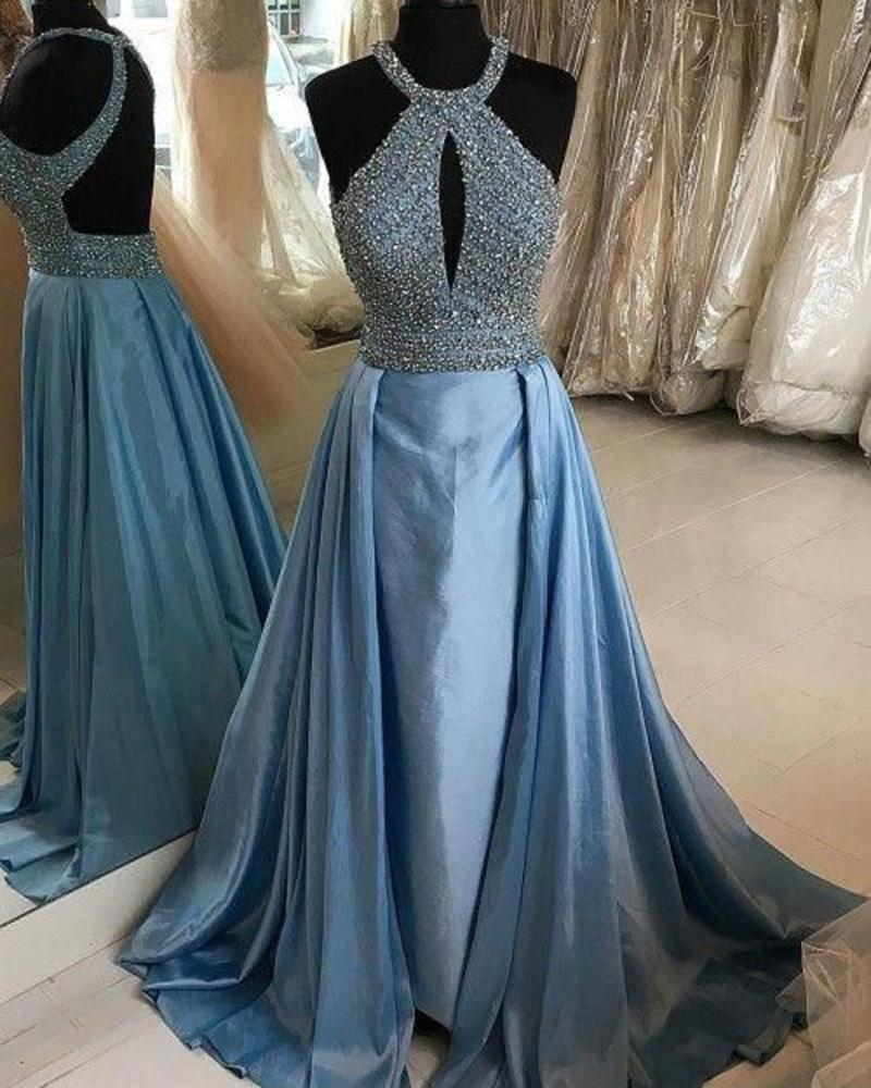 Halter Light Blue Prom Dresses with Train Women Engagement Formal Wear Long with beading DP020