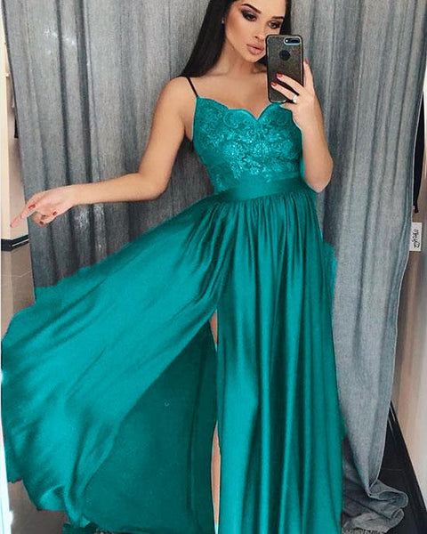 Turquoise/Burgundy/Dark Green Spaghetti Straps Women Long Party Prom Dresses Vestido Longo DP023