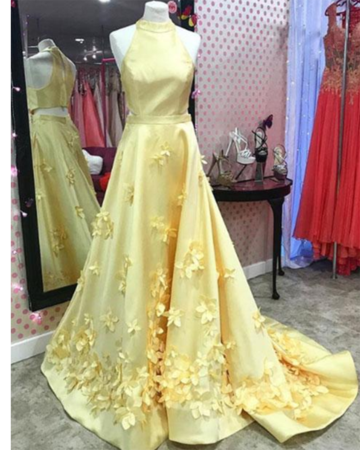 A Line Formal Yellow Halter Handmade Butterfly Prom Dresses Long Prom Dress DP026