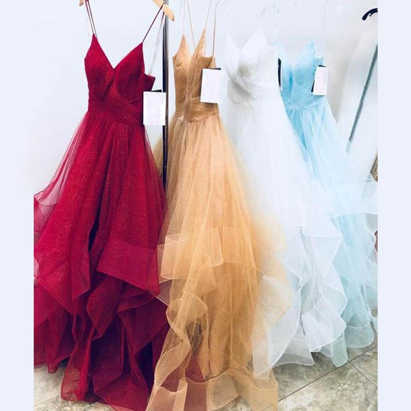 Gold/Red/White A Line Tulle Prom Dresses Long Spaghetti Pleats Party Dress Vestido De Festa DP027
