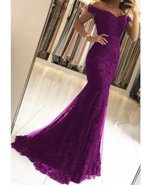 Women Formal Mermaid Lace Purple Prom Dresses Long Evening Dress DP031