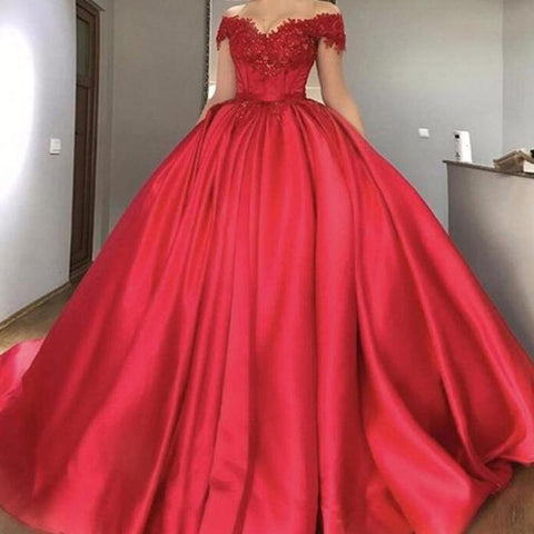 Off The Shoulder Red Ball Gown Prom Dress Women Outfit Vestido longo with Lace  DP033
