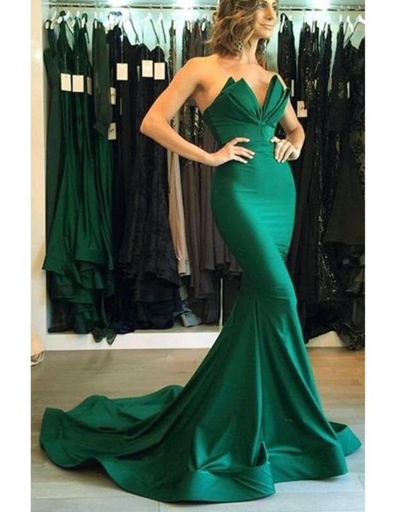 Elegant Strapless Burgundy Mermaid Evening Dresses Long Prom Dress For Women DP034