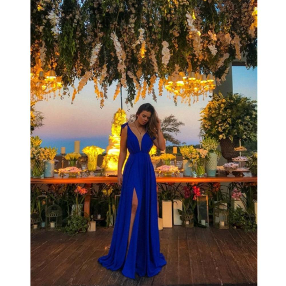 A-Line Deep V-Neck Royal Blue High Split Long Prom Dresses DP037