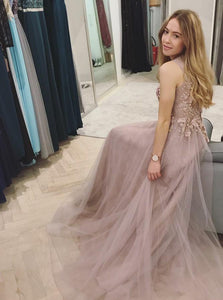 A-Line Round Neck Beading Appliques Top Long Tulle Prom Dress DP040