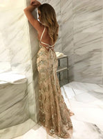 Newest Mermaid Spaghetti Straps Tulle With Sequins Long Prom Dress DP041