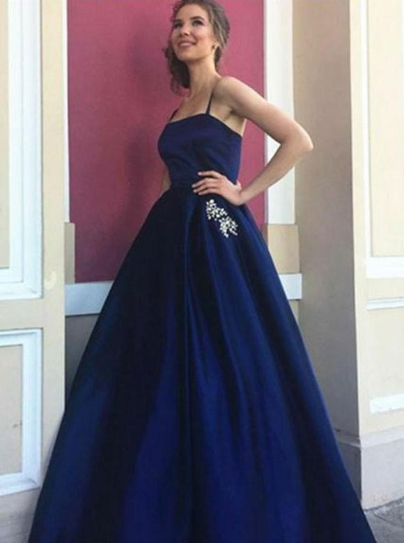 A-Line Spaghetti Straps Navy Blue Long Prom Dresses With Beading Pockets DP044