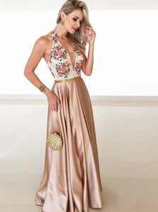 A-line Floor-length Deep V-neck Lace Appliques Long Prom Dress With Pleats DP045