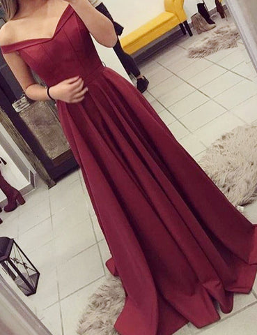 Elegant Burgundy A-Line Off-Shoulder Long Prom Dress With Pleats DP046