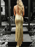 Mermaid V-Neck Backless Gold Sequins Long Prom Dresses With Train DP050