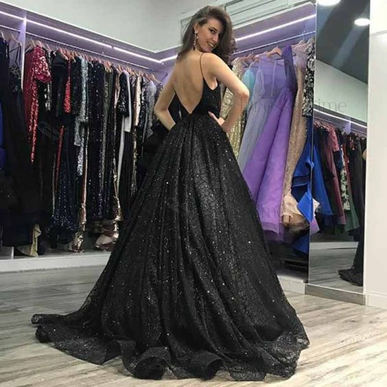 A-Line Spaghetti Straps Sweep Train Black Sequined Prom Dress DP055