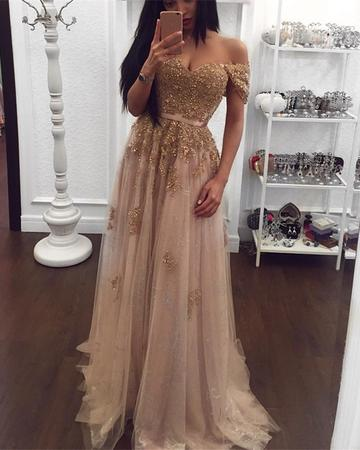 Gold Lace Beaded Sweetheart Tulle Prom Dresses Off-the-shoulder Evening Dress DP058
