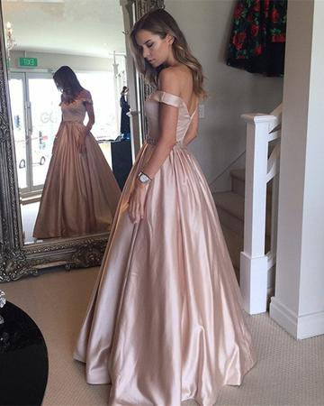 Dark Green Satin V-neck Prom Long Dresses Off Shoulder Evening Gowns Beaded Sashes DP059
