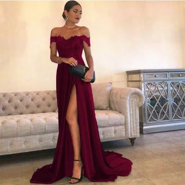 Sexy Leg Slit Long Satin Sweetheart Prom Dresses Lace Off The Shoulder Evening Gowns DP060