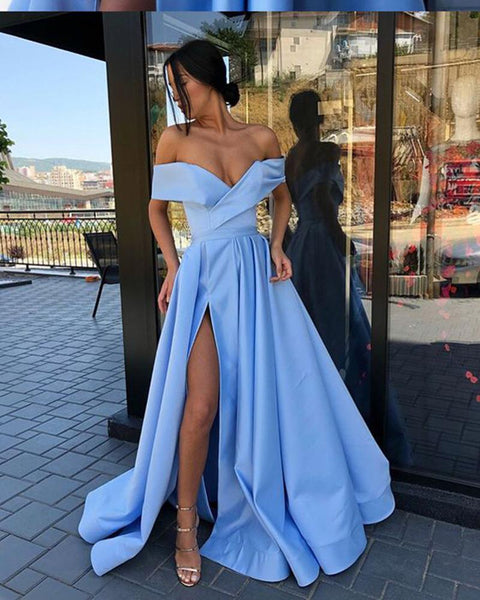 Off the Shoulder Champagne Long Evening Dresses with Slit Vestido Prom Dress DP061