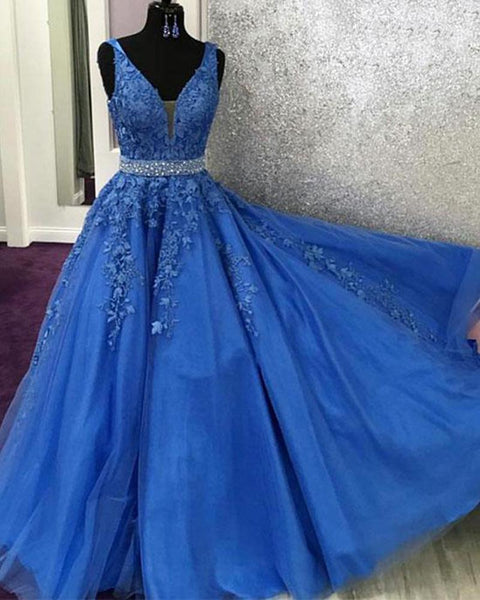 V Neck Royal Blue Lace Graduation senior Prom dresses Long with Beading Belt DP062