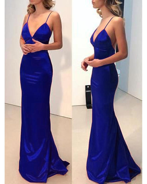 Elegant Spaghetti Straps Mermaid Party Dresses Long Prom Evening Gown with Straps DP063