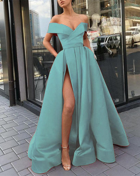 Elegant Light Blue/Gold/Red Long Women Formal Prom Dresses Evening Gowns 2019 with Split DP065