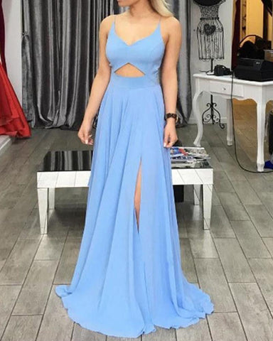 Light Blue Long Chiffon Prom Party Dresses Evening Gowns 2019 with Split DP067