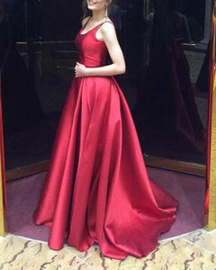 Elegant Burgundy Red Long A Line Girls Graduation Prom Long Dresses DP074