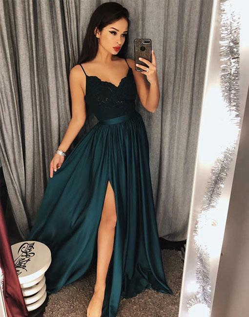 Dark Green Sexy Slit Prom Dresses Spaghetti Straps Girls Long Party Gown vestidos de graduacion DP075
