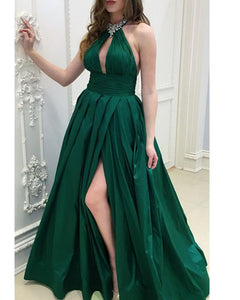 Dark Green Halter Sexy A Line Long Prom Dresses with Beading DP077