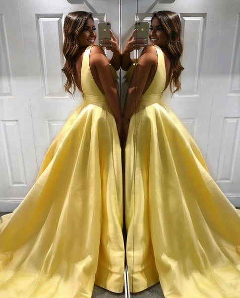A Line Satin V Neck Girls Teal/Yellow Prom Dresses Long Party Dress DP078
