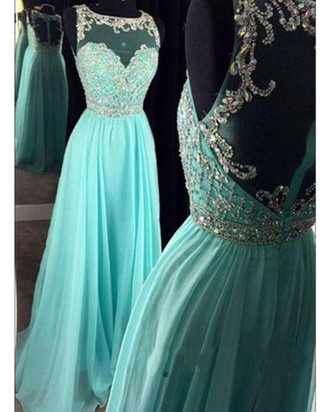 New Scoop Neck A Line Ice Blue Rhinestone Prom Dress Long Prom Dresses with Beading DP079